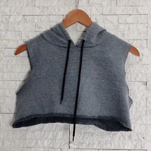 Gray Sleeveless Cropped Active Hoodie